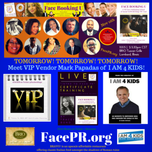 Meet VIP Vendor Mark Papadas at Intro To Face PR Event Nov. 11th 2-5.30 at BRIO Lombard - Register at FacePR.org