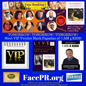 Meet VIP Vendor Mark Papadas at Intro To Face PR Event Nov. 11th 2-5.30 at BRIO Lombard - Register at FacePR.org