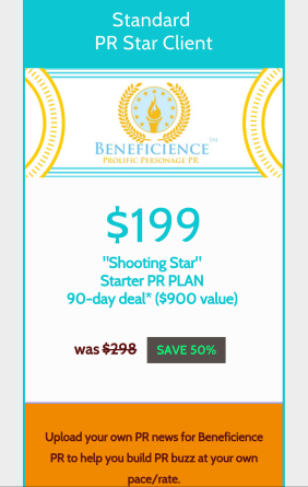 Choose from 3 tiered STAR Client #PR plans available before 2016 right now! CLICK here for:  https://publicrelations.leadpages.co/beneficience-pr-2016-packages