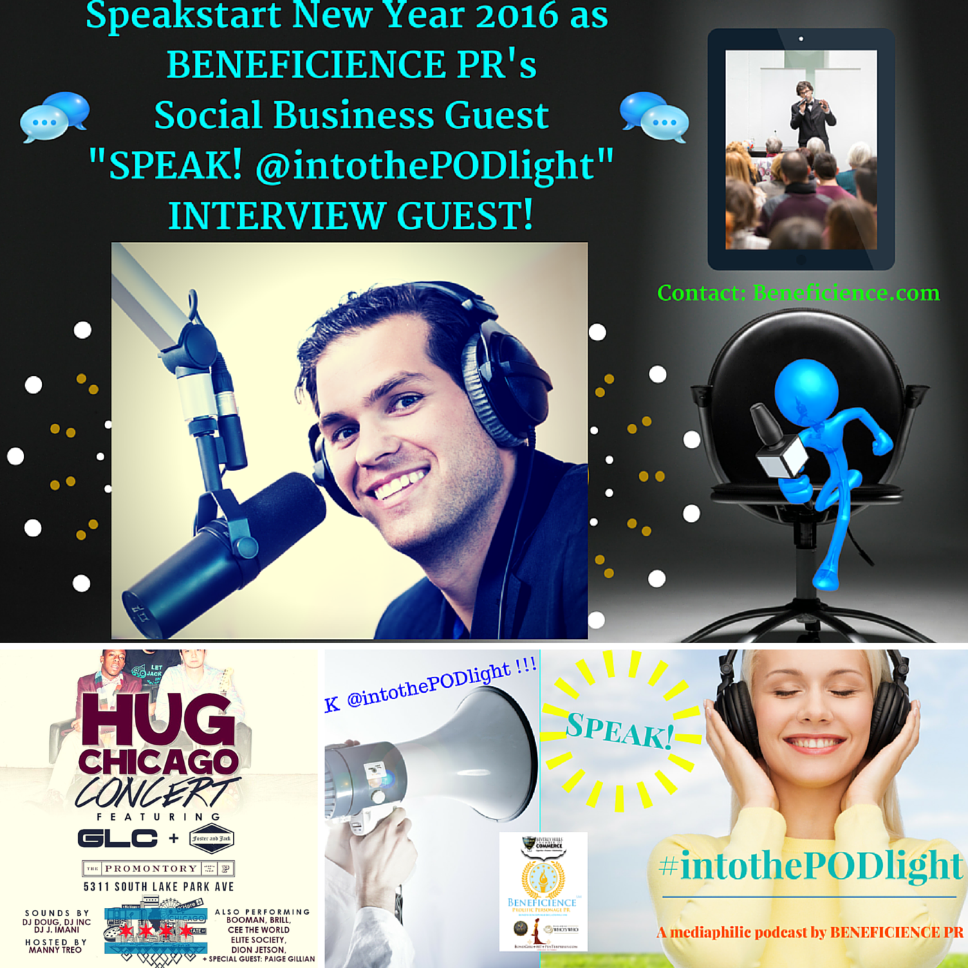 SPEAK! #intothepodlight – A mediaphilic podcast hosted by Tracey Bond – Beneficience.com PR Featuring- Paige Gillian Chicago Voicestress PErforming at The Promontory Tonight @5pm for #HUGChicago CampaignJanuary