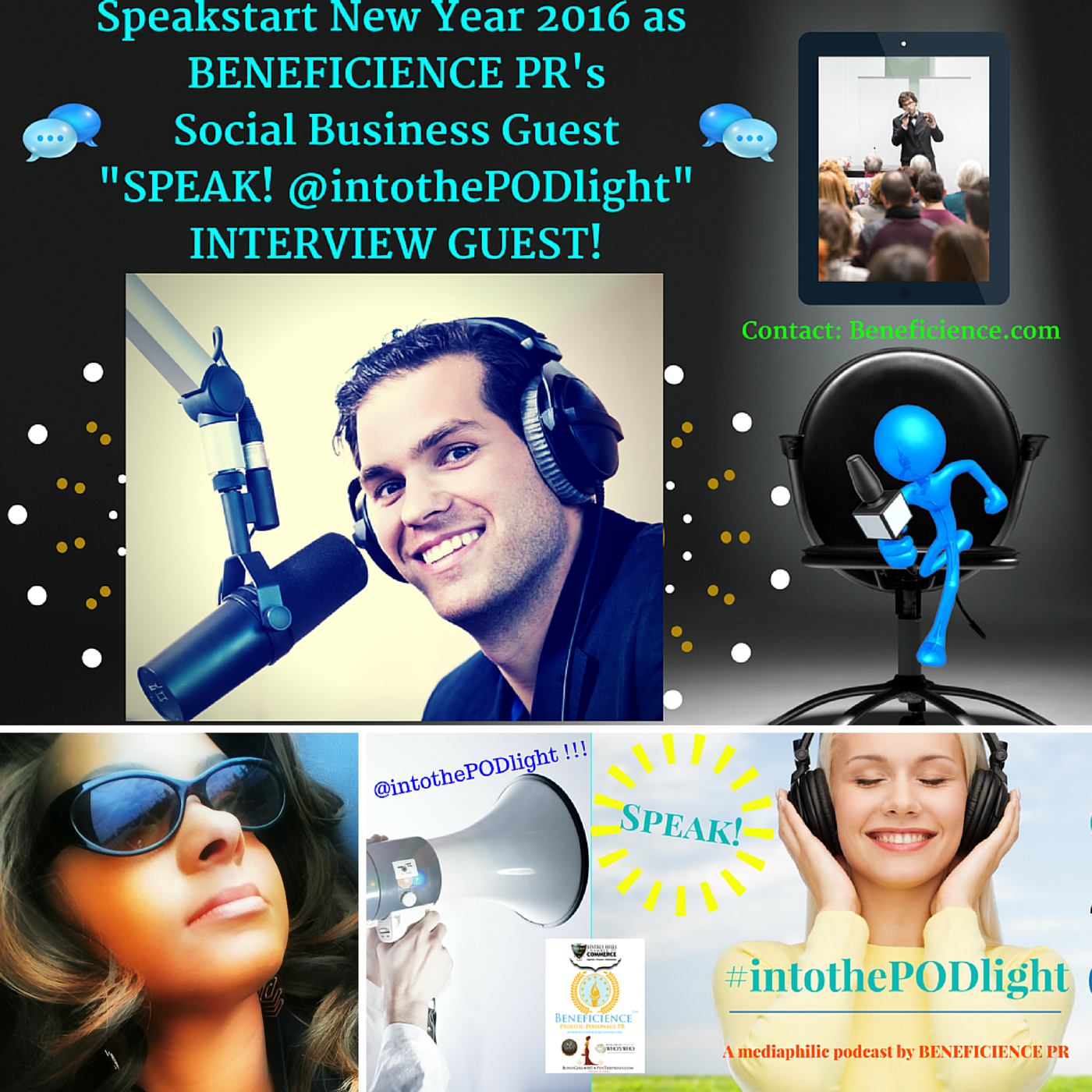 SPEAK! #intothepodlight – A mediaphilic podcast hosted by Tracey Bond – Beneficience.com PR