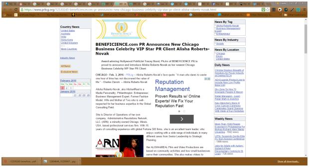 Alisha Press Release Screenshot BondGirl007PenTerprises.com for Beneficience.com PR Clientele