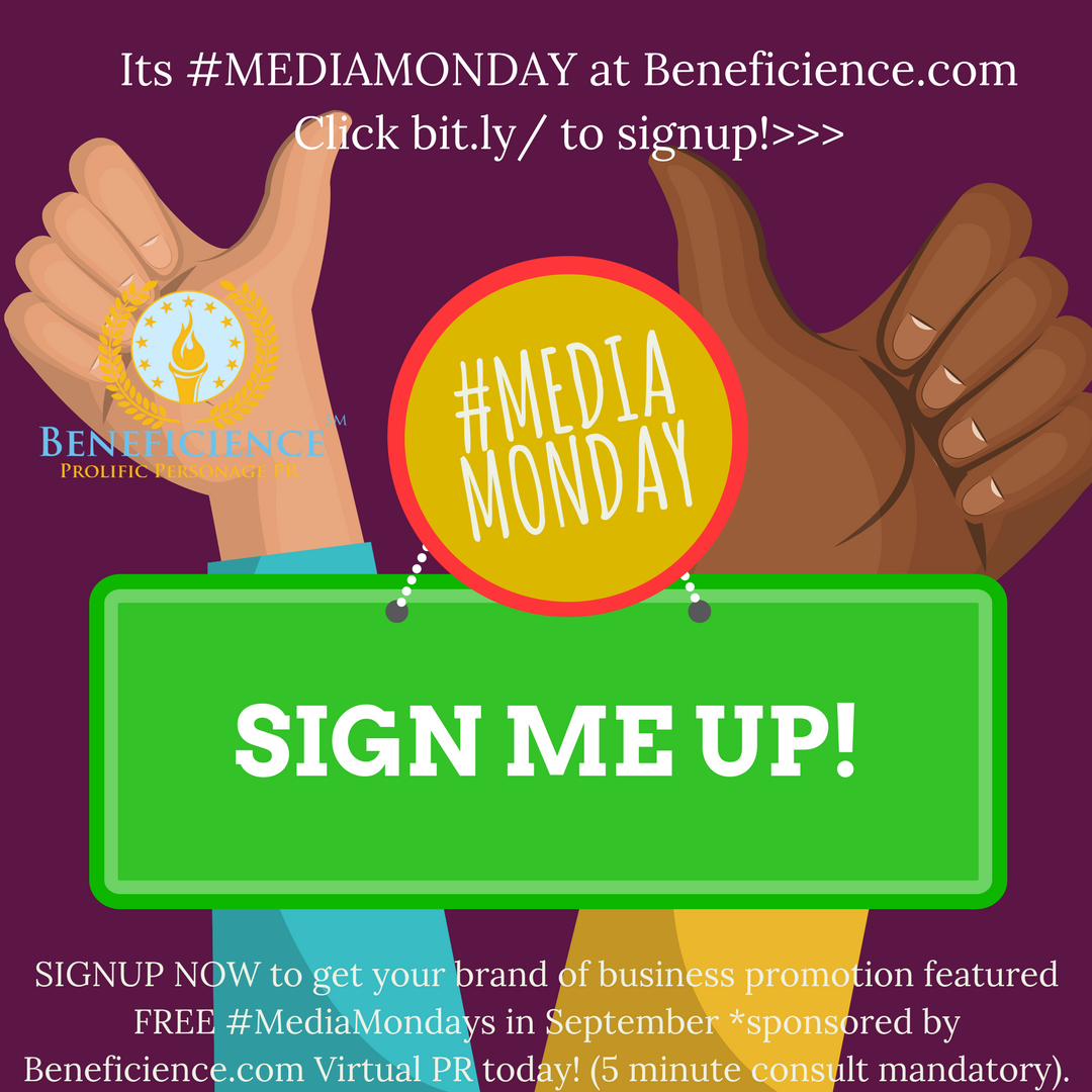 #MEDIAMONDAY Promo PR Mentionable from VipConciergeEvents.com at Beneficience.com today May 8, 2017 (1)