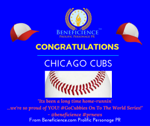 """Its been a long time home-runnin' - now its on to the World Series!"" Way to GLOW #ChicagoCubs! We're so proud of you @BENEFICIENCE World Class #PRNews"