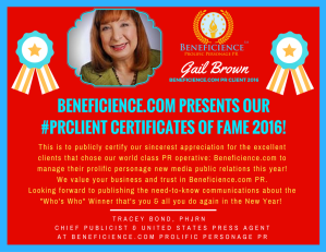 beneficience-com-pr-presents-our-pr-client-certificates-of-fame-2016-gail-brown