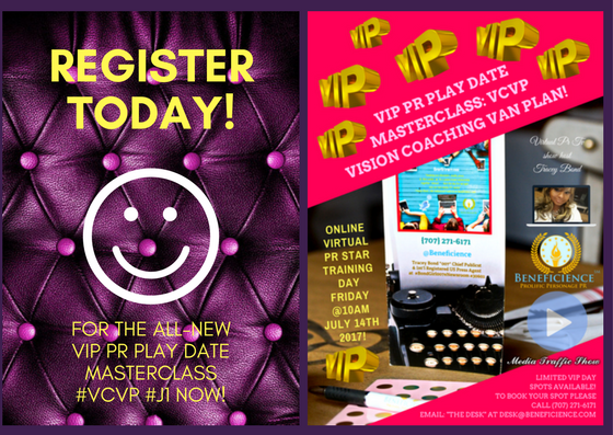 VIP PR PLAY DATE MASTERCLASS- VCVP #J1 TO REGISTER NOW